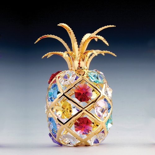 24k Gold-Plated Swarovski Crystal Figurine - Pineapple (Multi-Colored Crystals)