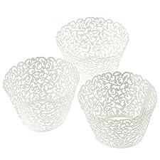 Diseño de filigrana de flores Vine OULII 120-unidades envoltorio para magdalenas con acolchado de maletero para tartas de boda Decoartion (blanco)