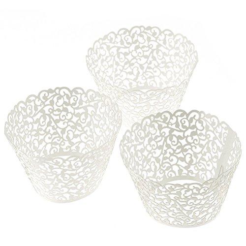 120-Pack OULII decorativo para salpicadero Lace Cupcake Wrapper boxeo Liner navideño Decoartion tarta de Boda (blanco)