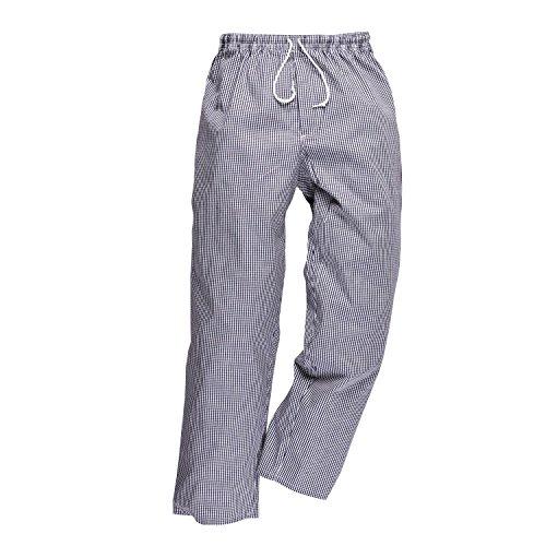 Portwest C079CHRXXXL Pantaloni Bromley da Chef, Bianco/Blu, XXXL