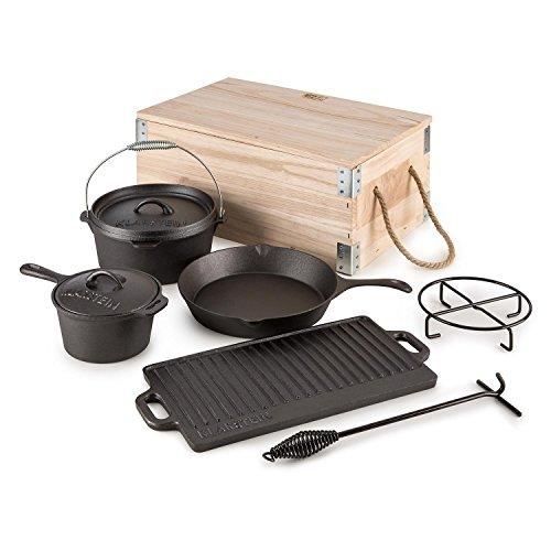 Klarstein Hotrod Masterplan Dutch Oven set di pentole in ghisa con piastra (set 7 pezzi, 2 pentole con coperchio, una padella, una piastra, con sollevatore coperchio e sottopentola, cassetta in legno, BBQ) - ghisa nero