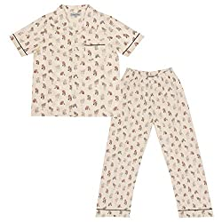 CrayonFlakes Kids Wear for Girls Cotton Off White Night Suit SleepSuit Set