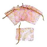 HooAMI Pink Gold Leaf Organza Gift Bags Wedding/Christmas Favor 25pcs 7x9cm
