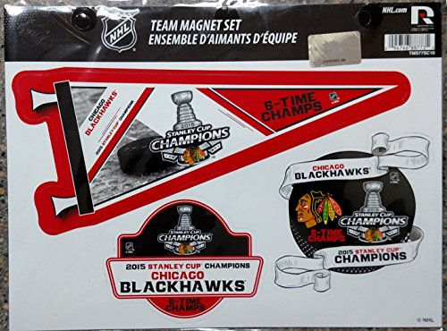 Chicago Blackhawks 2015 Stanley Cup Champions 6X Champs Multi Die Cut Magnet Sheet Auto Home NHL Hockey