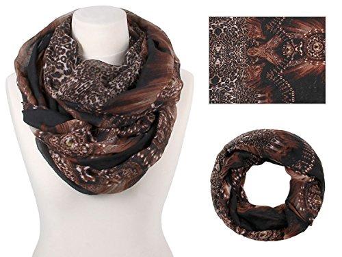 Sciarpa a tubo circolare, foulard da donna leggero e morbido estate primavera autunno inverno loop anello ragazze colorati stola accessorio moderno lifestyle , SCH-814.844.848:nero marrone SCH-844a