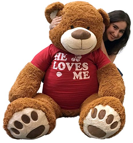 Big-Plush-5-Foot-Giant-Teddy-Bear-Wearing-HE-LOVES-ME-T-shirt-60-Inches-Soft-Cinnamon-Brown-Color-Huge-Teddybear