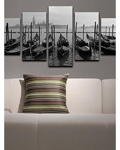 Homemania  Set Pannello Decorativo 5 pezzi Canvas Grigio