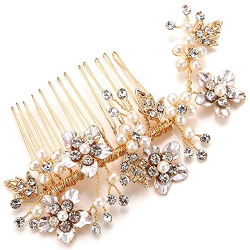 FAYBOX Bridal Gold Tone Simulated Pearl Rhinestone Flower Style Hair Side Comb Party Prom Wedding Accessories C