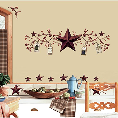 RoomMates RMK1276SCS Country Stars and Berries Peel & Stick Wall Decals, 40 Count - 1