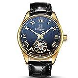CARNIVAL Switzerland Gold Watches Men Automatic Mechanical Luminous Hollow Tourbillon leather Watches