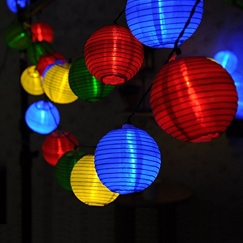 Outdoor Fairy Lampion Solar Powered Garden String Lights 20 LED Muli Color  Lantern Globe For