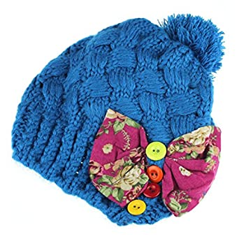 Susen Baby Girls Kids Children Bow Toddler Warm Winter Knitted Cap Hat Beanie
