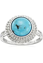 Sterling Silver Round Stabilized Turquoise with Diamond Accent Ring, Size 7