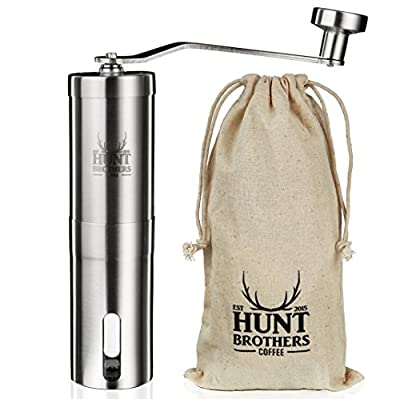 Hunt Brothers Coffee Grinder | Best Coffee Mill for Precision Brewing , Aeropress Compatible, Eco Friendly, Perfect for Traveling, Stainless Steel Body and Handle