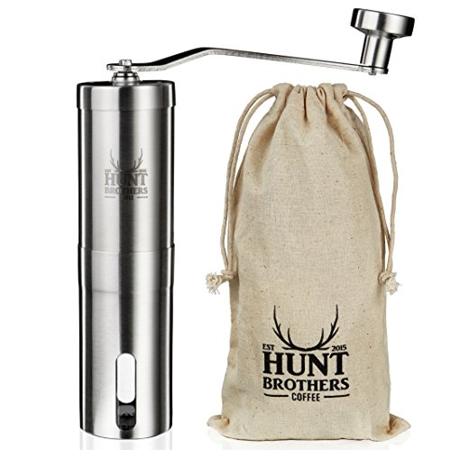 Hunt Brothers Coffee Grinder | Best Conical Burr for Precision Brewing | Consistent Grind | Top Rated Manual Coffee Mill | Aeropress Compatible, Perfect for Traveling