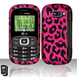 Hot Pink Leopard Rubberized Snap on Hard Shell Cover Protector Faceplate Cell Phone Case for Verizon LG Octane VN530 + LCD Screen Guard Film (Free Wrist Band)