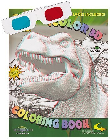 iColor 3D Dinosaur (High Detail) Coloring Book. Watch as T-Rex, Triceratops, and Apatosaurus come to Life. (3D Glasses Included)