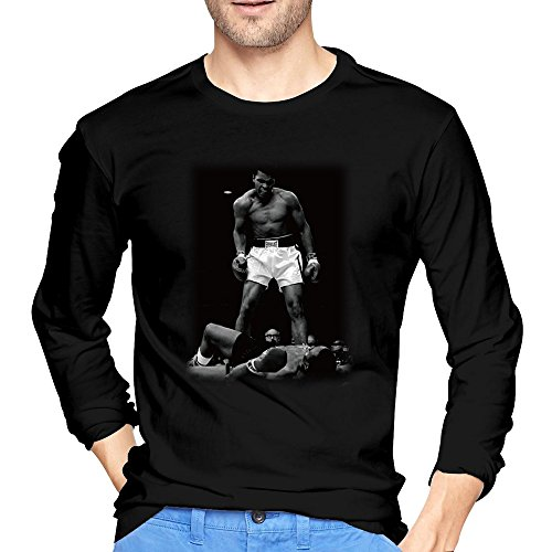 HEDONE Men's Muhammad Ali Victory Over Liston Classic Boxing T-Shirts Black S (Floyd Mayweather Boxing Tickets compare prices)