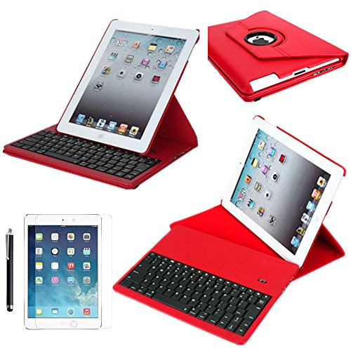 Ipad Air 2 Case With Keyboard, Boriyuan Ultra Slim Removable Detachable Wireless Bluetooth Keyboard Case (Abs Keys) Protective Folding Folio Flip Pu Leather Case Cover For Ipad Air 2/ Ipad 6, With Elastic Strap And 360 Degrees Rotating Multi-Angle Stand H