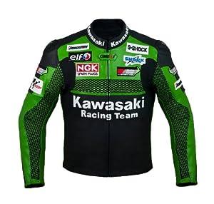 Amazon.com: Kawasaki Racing Team Leather Jacket (L (EU52-54