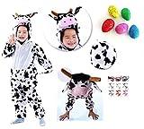 【ELEEJE】 あ! ウシ だ ! みんな の 注目 ☆ おもしろい うし コスプレ ! ハロウィン キッズ なりきり 着ぐるみ 子供 用 ( 白色の牛 の 着ぐるみ Lサイズ ・ びっくり たまご ・ タトゥ シール )