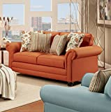 Chelsea Home Furniture Trieste Loveseat, Sterling Orange with Crewel Dusty Red/Rikki Tikki Breeze Pillows