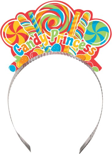 Creative Converting Sugar Buzz Candy Princess Party Crowns, 8 Count
