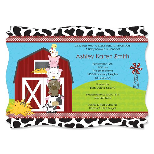 Farm Animals - Personalized Baby Shower Invitations front-48439