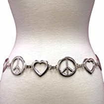 Silver Tone Peace & Love Hearts Chain Link Belt