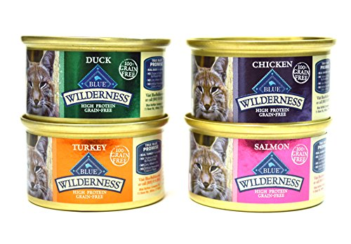 Blue Buffalo Wilderness Grain-Free Variety Pack Cat Food - 4 Flavors (Salmon, Duck, Turkey, and Chicken) - 12 (3 Ounce) Cans - 3 of Each Flavor (Blue Buffalo Canned Cat compare prices)