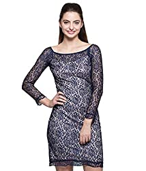 Tryfa Women's Dress (TFDRBC0000137-L-S_Blue_Small)