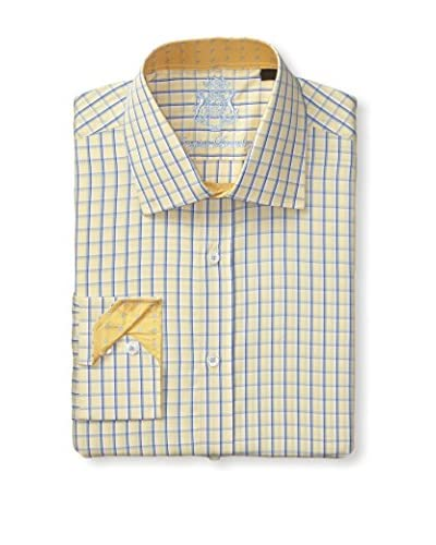 English Laundry Men's Windowpane Long Sleeve Dress Shirt