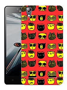 """Humor Gang Trendy Cats Yellow Printed Designer Mobile Back Cover For """"Lenovo A6000 - A6000 PLUS"""" (3D, Matte, Premium Quality Snap On Case)"""