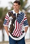 Plus Size Patriotic Eagle Print Polo…