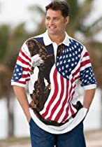 Plus Size Patriotic Eagle Print Polo Shirt (Eagle,Big - 3Xl)