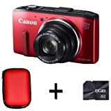 Canon PowerShot SX280 HS Compact Digital Camera - Red + Case and 8GB Memory Card (12.1MP, 20x Optical Zoom) 3 inch LCD
