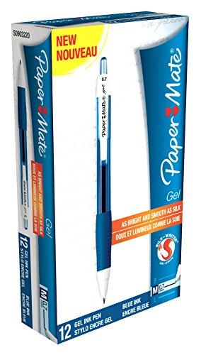 Papermate Gel Silk Writer - Bolígrafo (Azul, Azul, Color blanco), paquete de 12 unidades