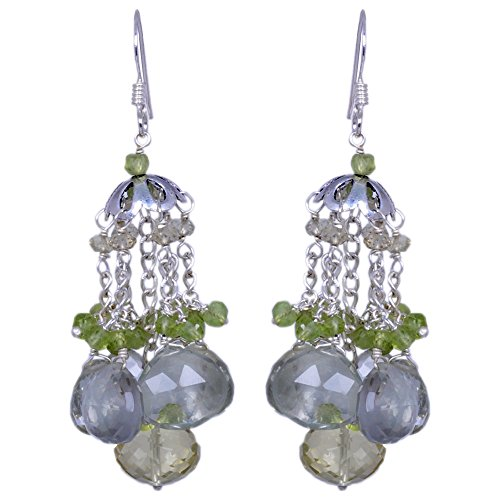 Green Amethyst, Peridot & Lemon Topaz Gemstone Earrings Made In 925 Solid Silver (multicolor)