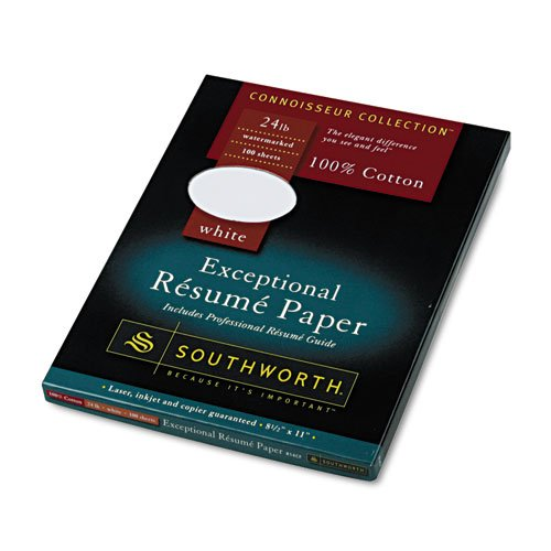 Southworth - 100% Cotton Resume Paper, White, 24 Lbs., Wove, 8-1/2 X 11, 100/Box R14Cf (Dmi Bx