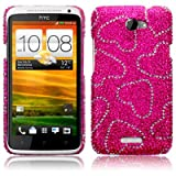HTC One X Love Hearts Diamante Case / Cover / Shell / Shield Part Of The Qubits Accessories Rangeby Qubits