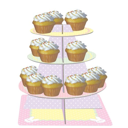 Creative Converting Tiered Snack and Cupcake Server, Stripes and Bunnies, Pastel Dots