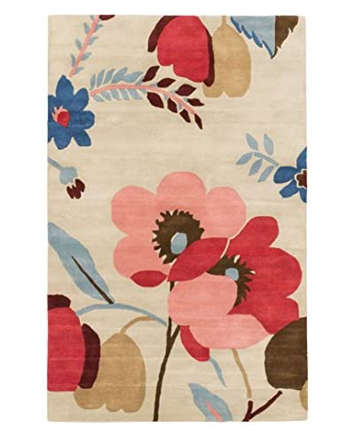 Oak Rugs Hand-Made Flower Delight Wool Rug, Cream, 5′ x 8′
