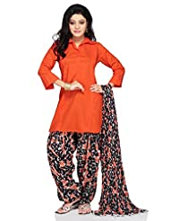 Utsav Fashion Women's Orange Cotton Readymade Kameez With Patiala-Medium