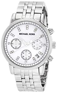 Women's Stainless Steel Case and Bracelet Quartz Chronograph Mother of Pearl Dial