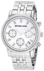 Michael Kors Women's MK5020 Silver Chronograph Knurl Top Ring Watch