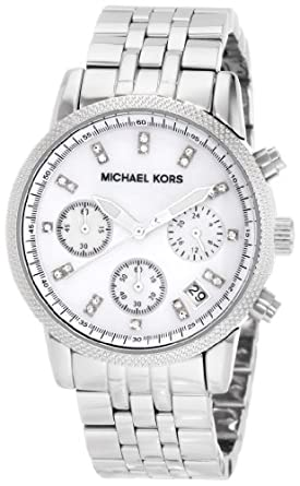 Michael Kors Women's MK5020 Silver Chronograph Knurl Top Ring Watch