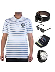 Garushi White T-Shirt With Watch Belt Sunglasses Cardholder - B00YMKQI82