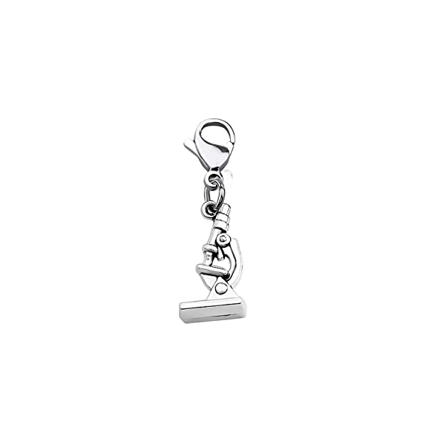 CHOORO Microscope and DNA Double Helix Necklace Science Gift for Laboratory Technologist/Science Student (Microscope Zipper Pull) (Color: microscope zipper pull)