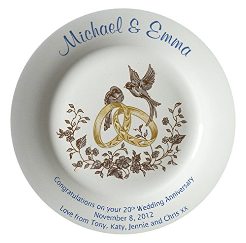 Personalized Bone China Commemorative Plate For A 20th Wedding Anniversary - Rings And Doves Design With A Plain Rim