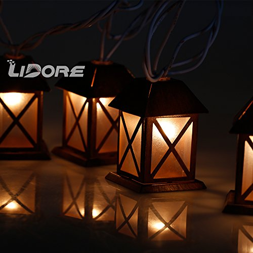 LIDORE Set of 10 Warm White Glow Bronze Metal House Shaped Lantern Plug-in String Light For ...